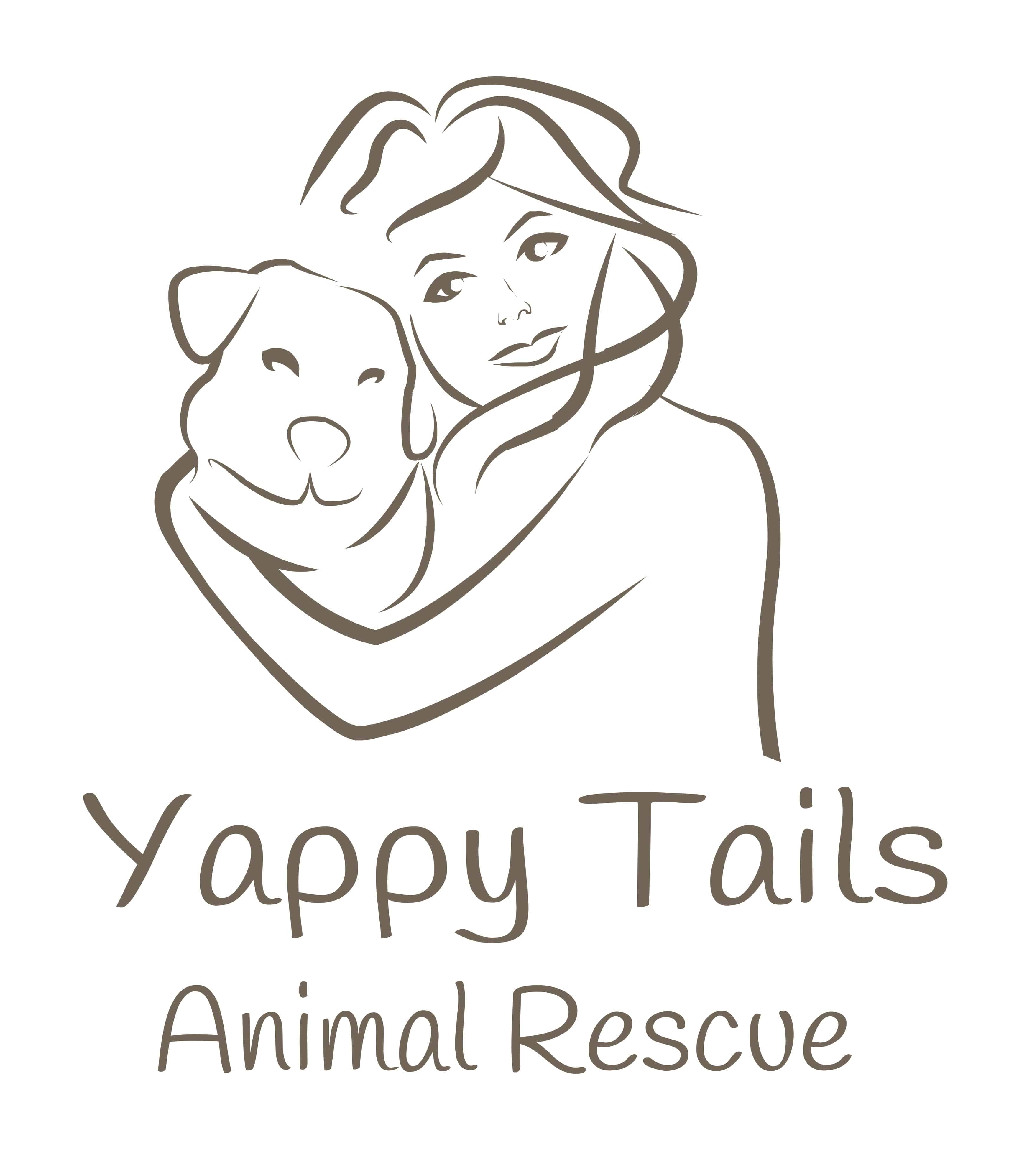 """A doodle woman holding a dog over the text, """"Yappy Tails Animal Rescue"""""""